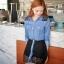 Sweet Blue Shirt เสื้อตัวยาว สีฟ้า ตัดต่อผ้าลูกไม้ช่วงหลังและกระโปรง thumbnail 3