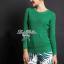 Lady Ribbon Green Knit Leaf Print Set เซ็ตเสื้อพร้อมกางเกง thumbnail 6