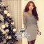Sexy Style Dress ชุดเซ็ทเสื้อลูกไม้ซีทรู เดรสเกาะอก สีเทา thumbnail 5