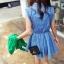เดรสผ้าฝ้ายสีฟ้า พิมพ์ลายจุด เอวยางยืด Size L thumbnail 9