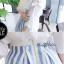 Lady Ribbon ชุดเซ็ทเสื้อกระโปรงสีฟ้าสลับขาว แขนเสื้อแหวก ผูกโบว์ thumbnail 9