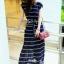 Maxi Dress เดรสยาวผ้าชีฟอง พิมพ์ลายขวาง สีน้ำเงิน สีขาว thumbnail 4