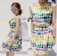 Lady Ribbon Lady Coco Chanel Colorful Painting Dress Set thumbnail 6