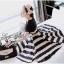 Lady Ribbon Stripe Mini Dress มินิเดรสลายขวางครีม-ดำ thumbnail 5