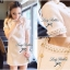 Lady Ribbon Pearly Embellish Tweet Mini Dress เดรสแต่งมุก thumbnail 6