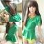 เสื้อ ผ้าชีฟองสีเขียว ด้านหลังตัดต่อผ้าตาข่ายเก๋ๆ thumbnail 1