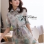 Lady Ribbon Floral Printed Cotton Silk Shirt Dress in Blue thumbnail 1