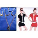 ชุดแอร์โฮสเตสเซ็กซี่แฟนซี เสื้อคอปกตั้งแขนสั้นสีน้ำเงินขลิบสีทอง พร้อมกระโปรงสั้นรัดรูปเข้าชุด