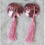 จุกปิดหน้าอกแฟนซี รูปทรงหัวใจ แต่งเลื่อมสีชมพู ห้อยตุ้งติ้งไหมญี่ปุ่น