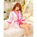 ชุดนอนแบบชุดคลุม สีชมพูอ่อนลายดอกซากุระ ขอบและเชือกผูกเอว สีชมพูเข้ม (พร้อม กกน.เข้าชุด)