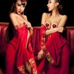 ชุดนอนเซ็กซี่ซีทรู สไตส์สาวจีน ชุดเดรสเกาะอก พร้อมชุดคลุมสีแดงแต่งขอบสวยงาม (พร้อม กกน.เข้าชุด)