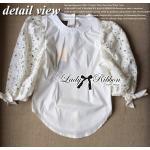 Lady Ribbon เสื้อผ้าคอตตอนตัดต่อผ้าลูกไม้ช่วงแขน สีขาว