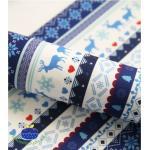 ผ้าสักหลาดเกาหลี พิมพ์ลาย Nordic size 2mm (Pre-order) ขนาด 42x30 cm มี 2 No.B สีน้ำเงิน