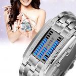 นาฬิกาผู้หญิง Binary Matrix Digital LED Waterproof_Silver