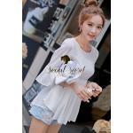 Seoul Secret เสื้อผ้าชีฟองเนื้อทราย สีขาว แต่งเลื่อมสีเงิน