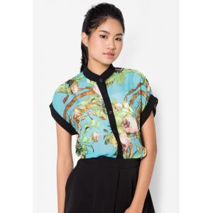 เสื้อเชิ้ต Luxury Floral Roll Up Sleeves