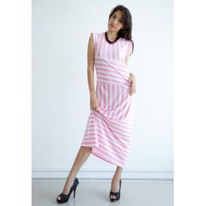 Sleek Strip Maxi Dress - Pink