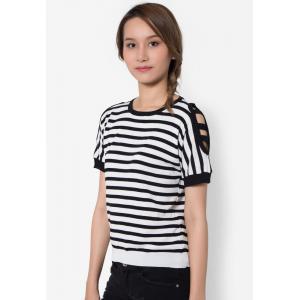 เสื้อเบลาส์ Cold Shoulder Striped Knit