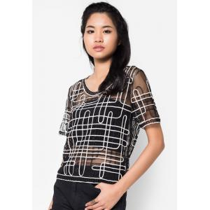 เสื้อเบลาส์ See-Through Monochrome Embroidered