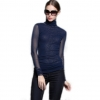 เสื้อเบลาส์ Heap collar primer (navy blue)