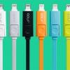 สายชาร์จแบบแบน 2 in 1 Lightning และ Micro USB ยี่ห้อ GOLF