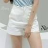 กางเกงขาสั้นทรงเอวสูง 8910-12 สีขาว