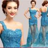 (เช่าชุดราตรี) ชุดราตรี <สีฟ้า> รหัสสินค้า EK_EVS0160