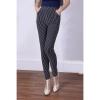 กางเกงขายาว High Waist Slim Stripe