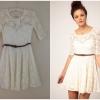 River island Cream Lace Skater Dress Size uk8