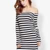 ชุดเดรส Off Shoulder Black and White Striped
