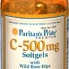 Puritan's Pride C-500 mg with Wild Rose Hips 100 Softgels วิตามินซีสกัดจากธรรมชาติ เพื่อผิวพรรณที่ขาว กระจ่างใส