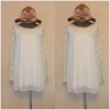 Topshop White Chiffon Lace Sleeve Dress Size uk12