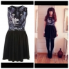 Topshop Panther Face Skater Dress Size uk12