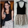 Topshop ladies Black & Cream Polka Dot Summer dress Size Uk10