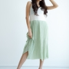Maxi Pleat Dress - Green