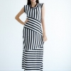 Sleek Strip Maxi Dress - Black