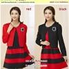 Preorder Set 2 ชิ้น เสื้อคลุม+เดรสไซส์ใหญ่ XL-3XL สีแดง ดำ
