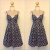 Topshop Blue and Cream Circle Pattern Dress Size uk10