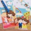 ผ้าสักหลาดเกาหลี ลาย Yumi กับคู่หู size 1mm (Pre-order) ขนาด 45x30 cm