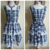 Yumi Blue Check Lace Dress Size M