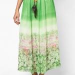 กระโปรงยาว Floral Peacok Chiffon