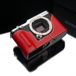 Gariz Leather Half-case for Fuji X-M1, X-A2: Red