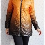 ((ขายแล้วครับ))((จองแล้วครับ))ca-2172 เสื้อโค้ทกันหนาวผ้าร่มสีม้มทูโทน รอบอก36