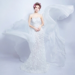 (เช่าชุดราตรี) ชุดแต่งงาน <เกาะอก สีขาว> รหัสสินค้า EK-WDL0839