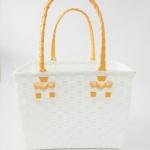 ตะกร้าจ่ายตลาด เล็ก สีขาว หูส้มอ่อน (JLS-12)
