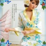 ชุดกิโมโน,ยูคาตะแฟนซี ลายดอกไม้สีฟ้าเหลือง ขอบและสายรัดเอวสีเหลือง กระโปรงสั้นจีบรอบตัว (พร้อม กกน.เข้าชุด)