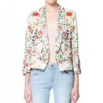 Zara floral print blazer เสื้อคลุม พื้นขาว ลายดอกไม้