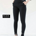 กางเกงสกินนี่เอวสูง BLACK TARAMIZU สีดำ #9861-01
