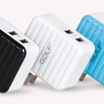 ที่ชาร์จไฟ USB 2 พอร์ต 2.4A+1A กำลังไฟรวม 3.4A สำหรับ Tablet, iPad 4 ยี่ห้อ GOLF รุ่น DP-301