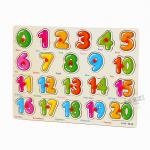 จิ๊กซอว์ไม้สอนตัวเลข 0 - 20 หมุดแดง..พร้อมคำศัพท์